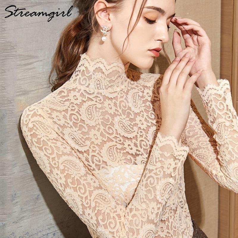 Kadın Beyaz Dantel Bluz Şeffaf Yaz Kadınlar Bluzlar Artı boyutu Tops Ve Bluzlar ile Siyah Dantel Gömlek Uzun Kollu T200321 Womens