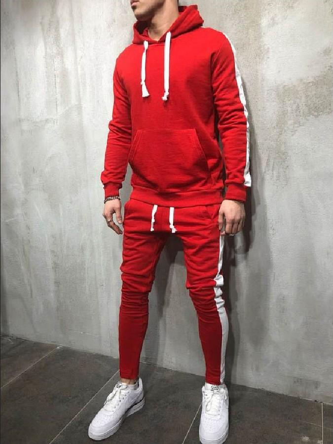 Ch/ándal Completo para Hombre Moda Slim fit oto/ño e Invierno Conjunto Deportivo de Manga Larga Casual Sudadera con Capucha Pantalones Deportivos Conjuntos