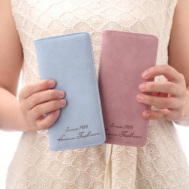 De haute qualité Purse Mode féminine Portefeuille Longue Section coréenne Frosted Porte-monnaie style Porte-monnaie étudiant Usine de vente directe