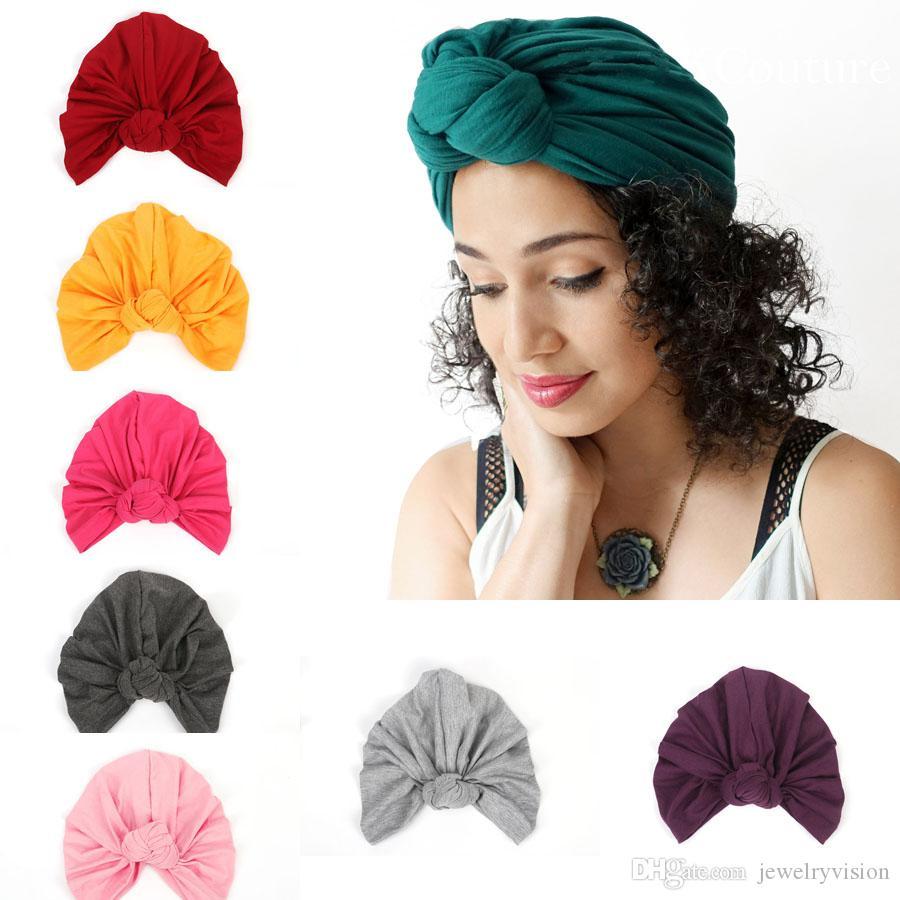 البوهيمي أزياء المرأة قبعة عقدة القطن أغطية الرأس سيدة بيني العمامة قبعات إكسسوارات 13 الألوان M192