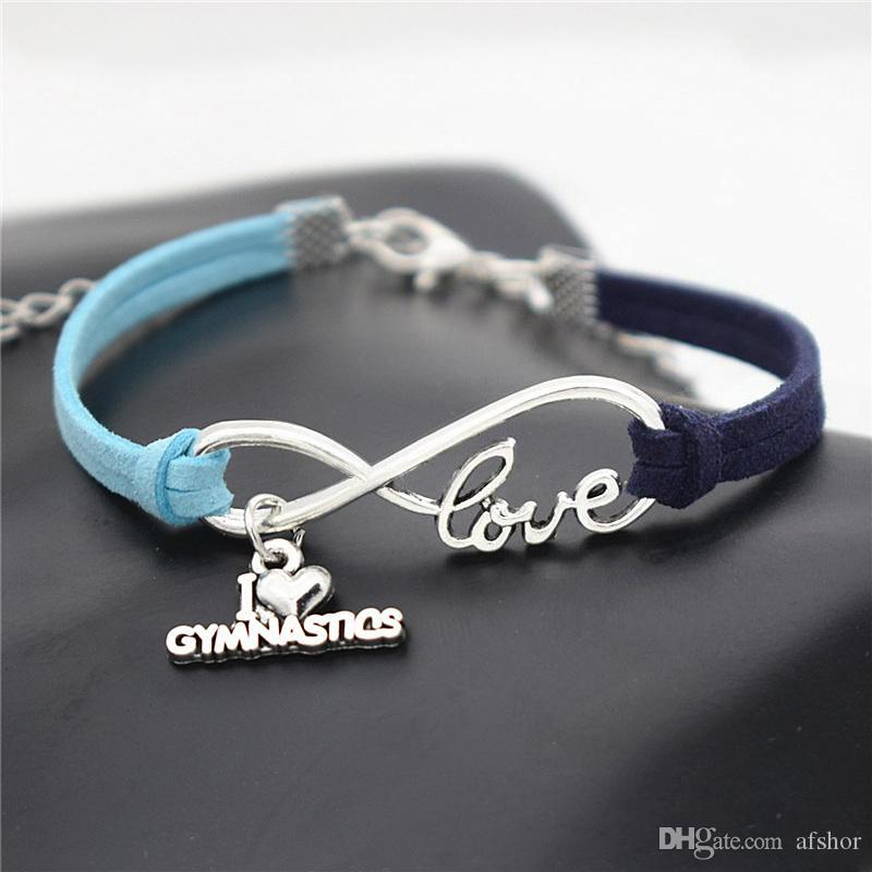 Korean Fashion Individuality Infinity Love Gymnastics Sports Pendants Bracelets & Bangles Blue Navy Leather Suede Rope Jewelry For Women Men