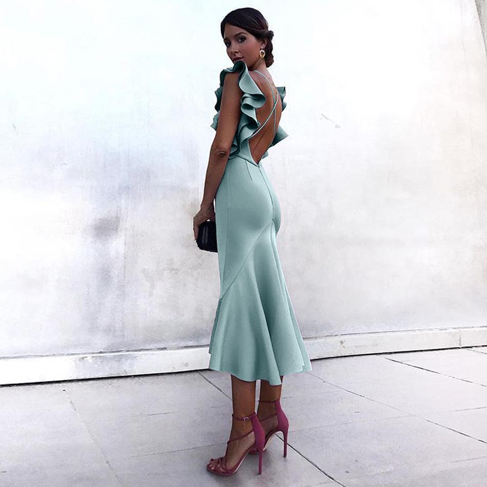 Adyce Summer Celebrity Party Dress Women Vestidos Verano 2019 Violet Green Ruffles Butterfly Sleeveless Backless Mermaid Dresses T5190615