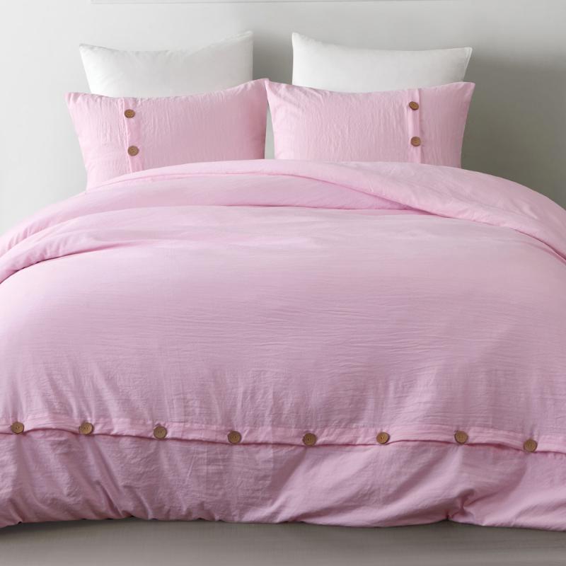juegos de sábanas de algodón lavado Yimeis ropa de cama de color rosa cama de algodón color sólido BE47001 juego de ropa