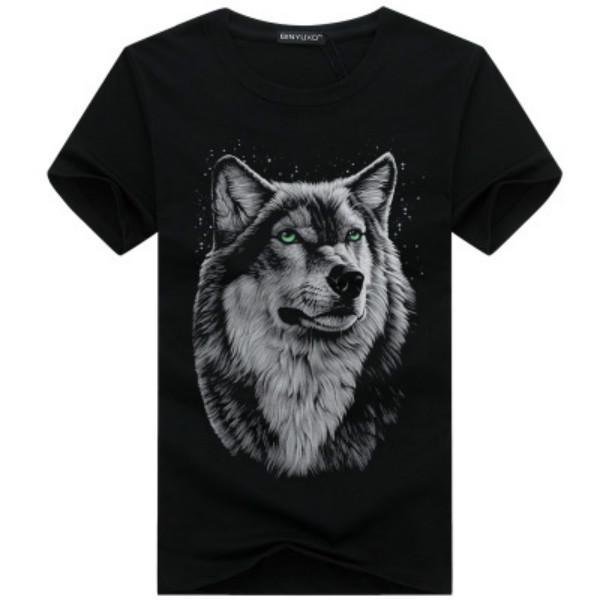 Sommermens-T-Shirts Art und Weise 2020 neue Shorts Hülsen-T-Shirts der Männer plus Größen-beiläufiger Rundhalsausschnitt 3D-Druck Wolf-Kopf-T-Shirts Oberteile Herren-Bekleidung Neue