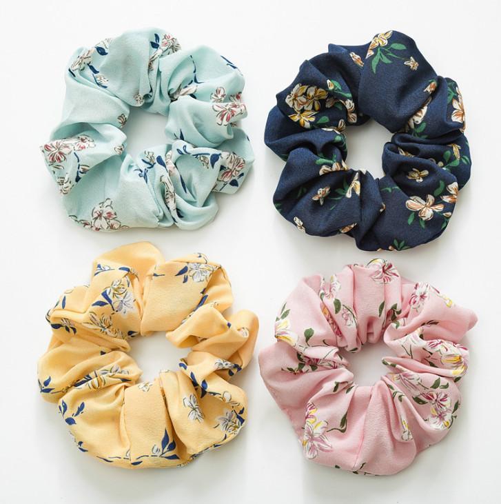 Sweet Girls floral headband ponytail holder boutique flowers printed children elastic scrunchie children princess hair accessories Y1385
