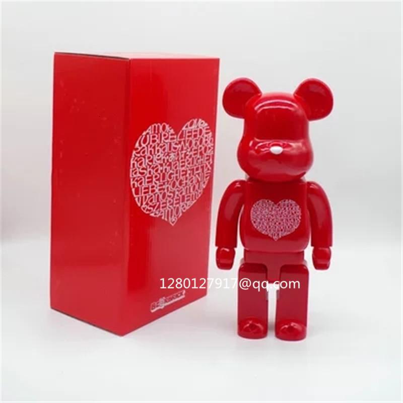 400% Bearbrick LOVE Gloomy Bear Art Handcrafts Vinyl Action Collecting Model Figure Toys Valentine's Gift 28CM