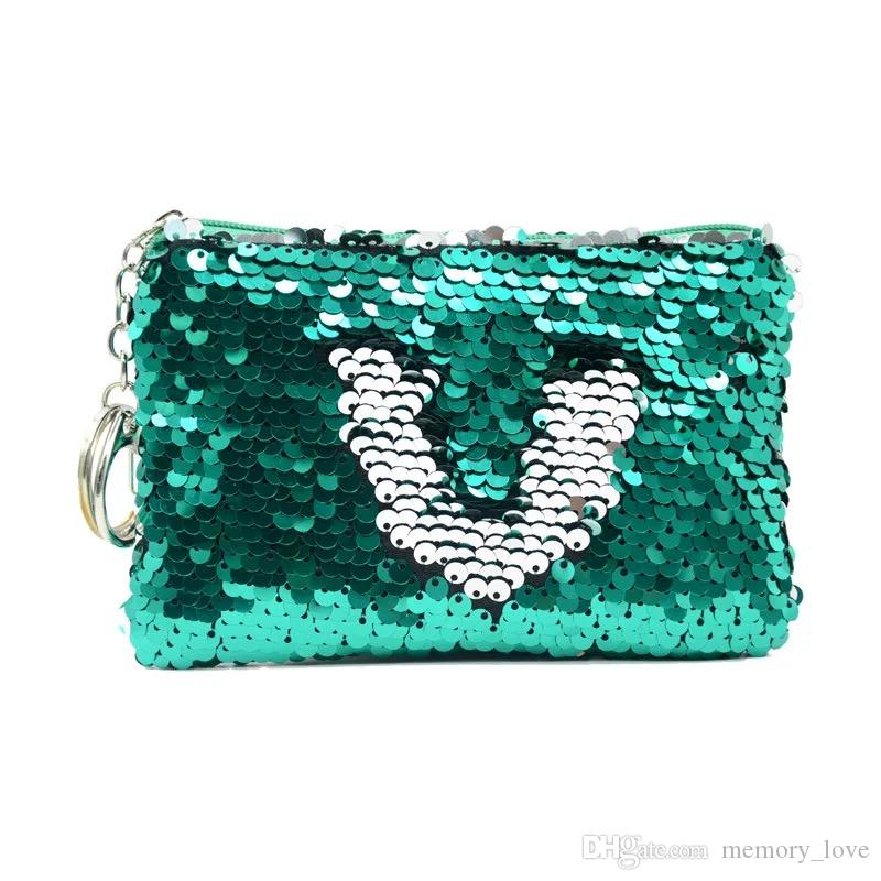 Sequin Coin Purse 50PCS Colourful Women Letters Cosmetic Changeable Hand Bag Personalized Sequin Handbag With Keychain