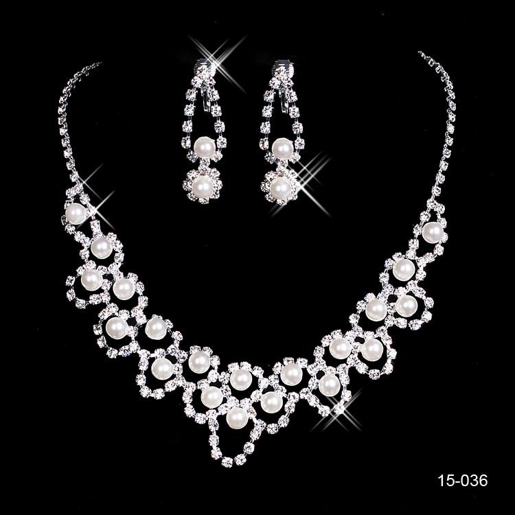 15036 Hot Sale Holy Rhinestone Crystal Earring Pearls Necklace Set Bridal Party Lobster Clasp Cheap Jewel Sets for Prom Evening Wedding