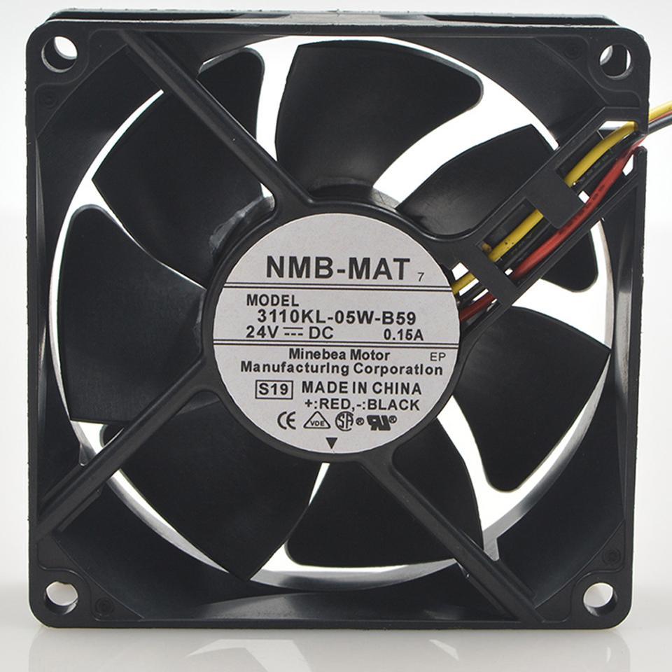 Original para ventilador NMB 3110KL-05W-B59 8025 8 cm 80 * 80 * 25 mm 24 V 0.15A ventilador de enfriamiento del inversor del servidor de 3 líneas