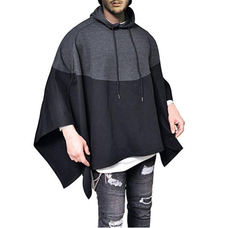 Casual Hip Hop Partido con capucha para hombre de la costura de empalme SUDADERAS dobladillo irregular del poncho Capa con capucha Hombre Streetwear Y200519