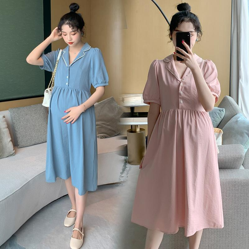 2021 Maternity Dresses Short Sleeve Korean Fashion High End Pearl Collar Maternity Clothes Dress Pregnancy Gifts Women Dresses From Toyshome 43 58 Dhgate Com