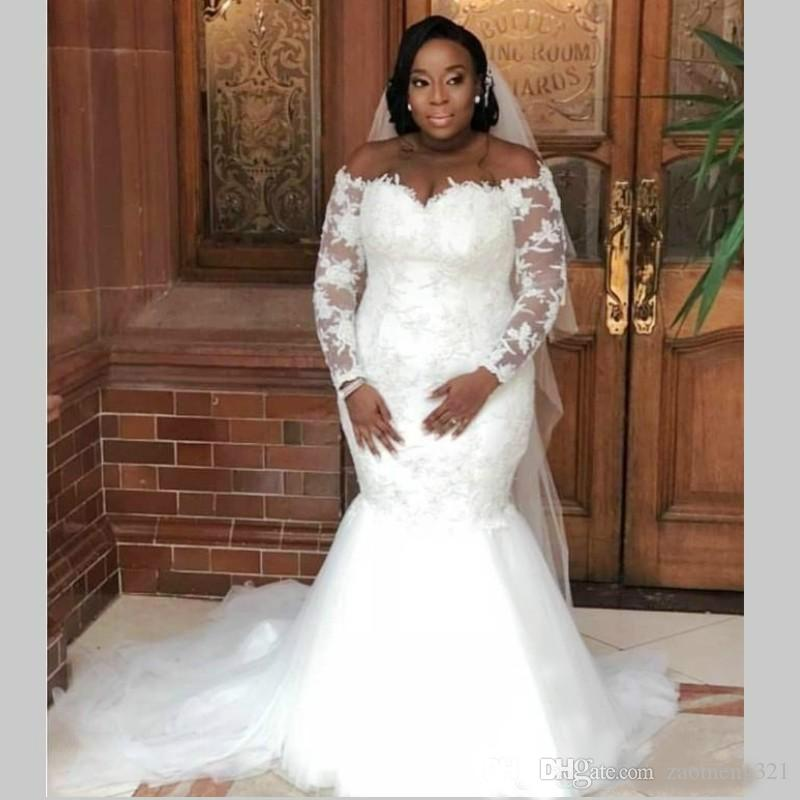 Charming 2020 Plus Size Mermaid Lace Sheer Wedding Dresses African Country Applique Long Sleeve Bridal Gown Church Bride Dress Custom