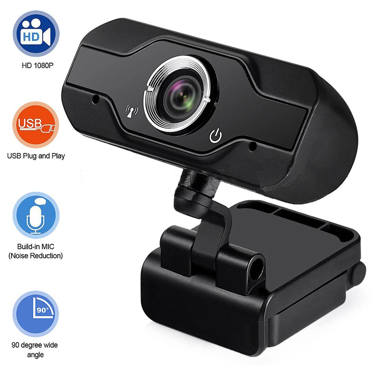 O envio gratuito de 1080p HD Webcam USB Microfone Integrado 1MP Optical Lens CMOS Sensor computador portátil Web Live Camera Video Chat Webcam