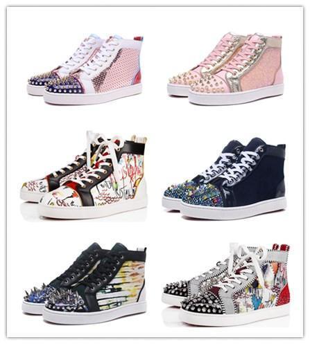 2019 nuevo diseñador inferiores del rojo de los zapatos ocasionales Resbalón-en Barco de rodillos para hombre ante de las mujeres de cristal de Spike zapatillas de deporte del cuero CAJA DE POLVO BOLSA party22da #