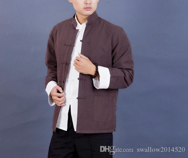 X-Future Men Frog Button Long Sleeve Mandarin Collar Embroidery Shirts