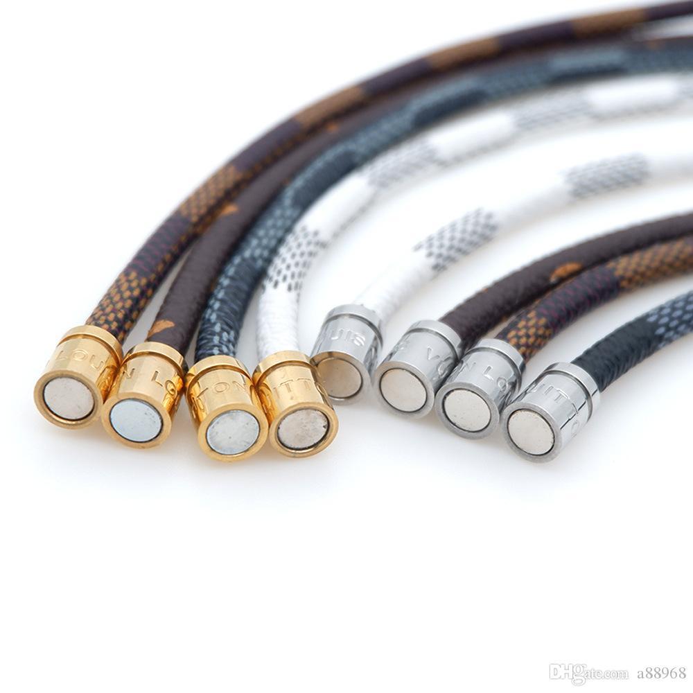 braccialetto di corda in acciaio 316L ti in pelle per gioielli fibbia magnete signore