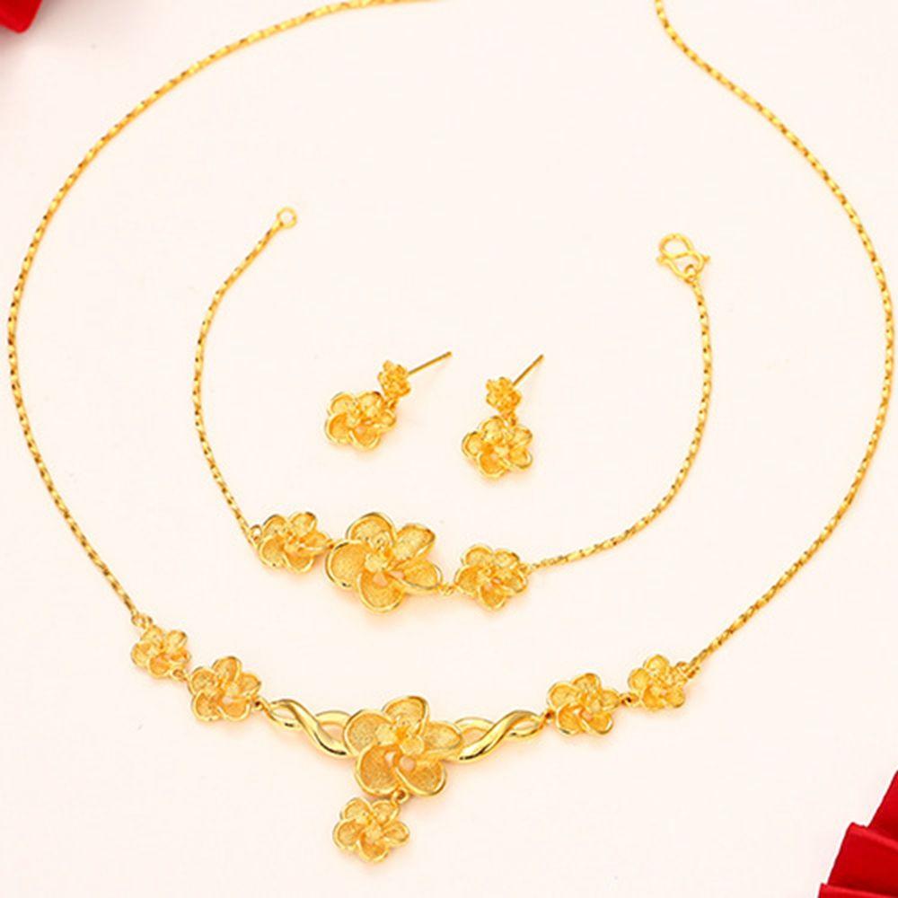 Flower Wedding Jewelry Set Luxury 18k Yellow Gold Filled Womens Pendant Chain Bracelet Earrings Drop Shipping