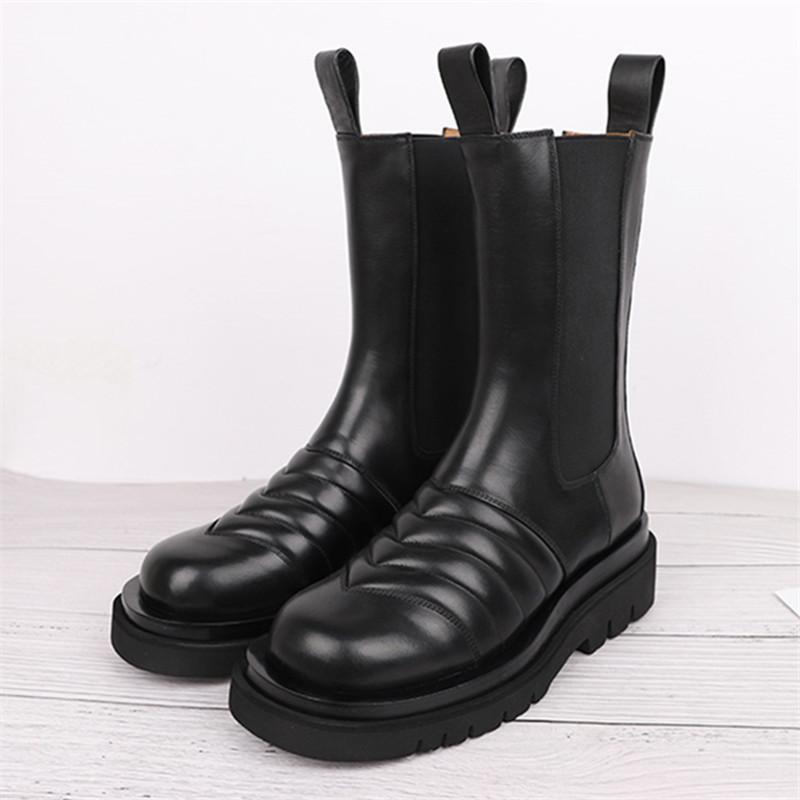 2020 mulheres botas de couro genuíno Stylish Botas de Moda de Nova Preto Plano Botas Mujer senhoras Deslizamento-on Short Sapatinho