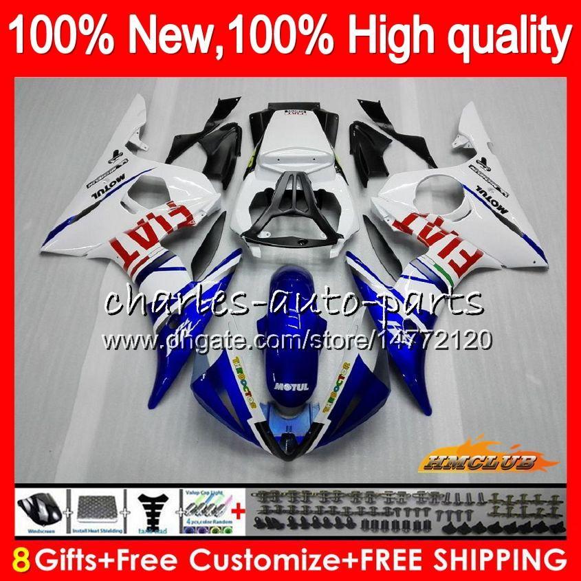 Zestaw do ciała dla Yamaha YZF600 Blue White YZF 600 R 6 600CC YZF R6 03-05 59HC.16 YZF-R6 YZF-600 YZFR6 03 04 05 2003 2004 2005 Owalnia + 8gift
