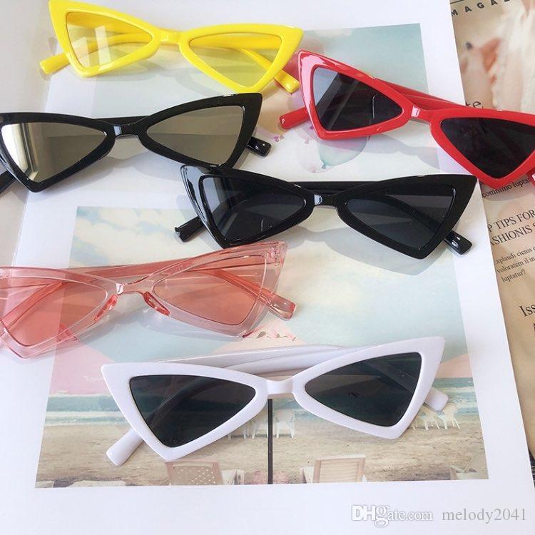 Niedliche Baby Dreieck Sonnenbrille 12 Farben Brillen UV400 Kinder Cateye Sonnenbrille Kunststoffrahmen Großhandel