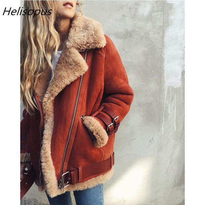 Helisopus delgadas de imitación de lana de oveja chaqueta de cuero de gamuza chaqueta de la piel de las mujeres del resorte de la correa caliente de la chaqueta capa ocasional de la cremallera Plus Motor SH190930 Tamaño