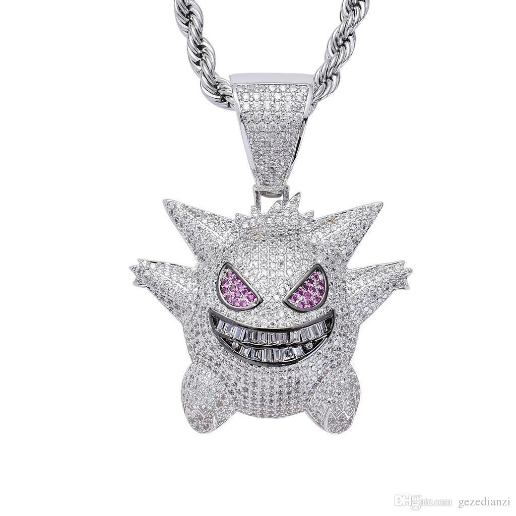 L'oro / argento di Hip Hop donne degli uomini catena Personaggi collana di rame Materiale fuori ghiacciato completa Cartoon CZ Pendant Necklacs gioielli regalo