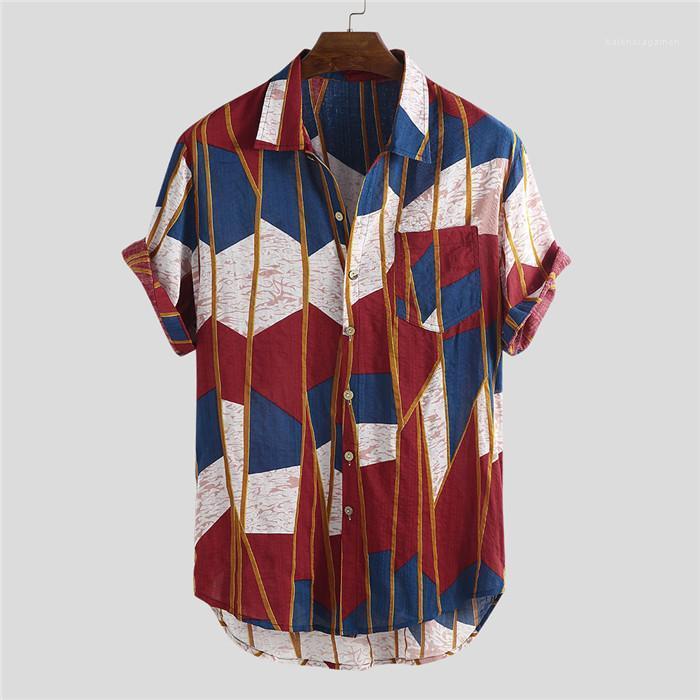 Mens stampato tasca della camicia casuale di estate di modo Maniche corte allentato Beach Vacation stile maschile Camicia