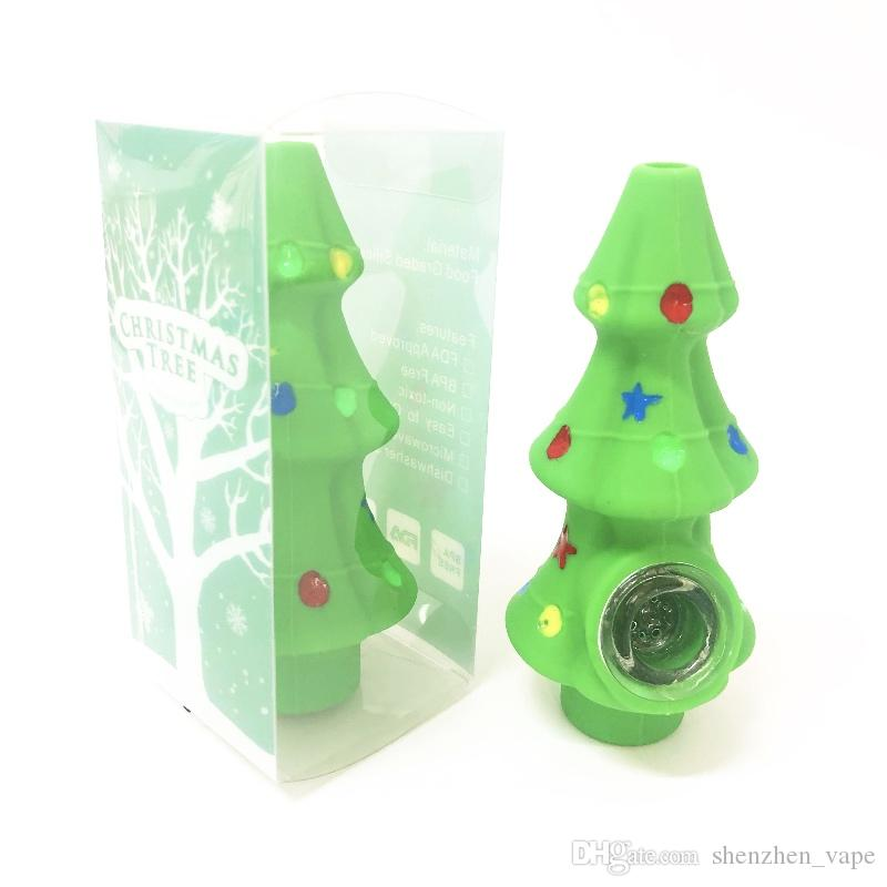 Gift Christmas tree Tobacco Pipe Silicone Smoking Hand Pipes With Glass Bowl Oil Burner Water Unique Percolator Bong For Smoking Accessories