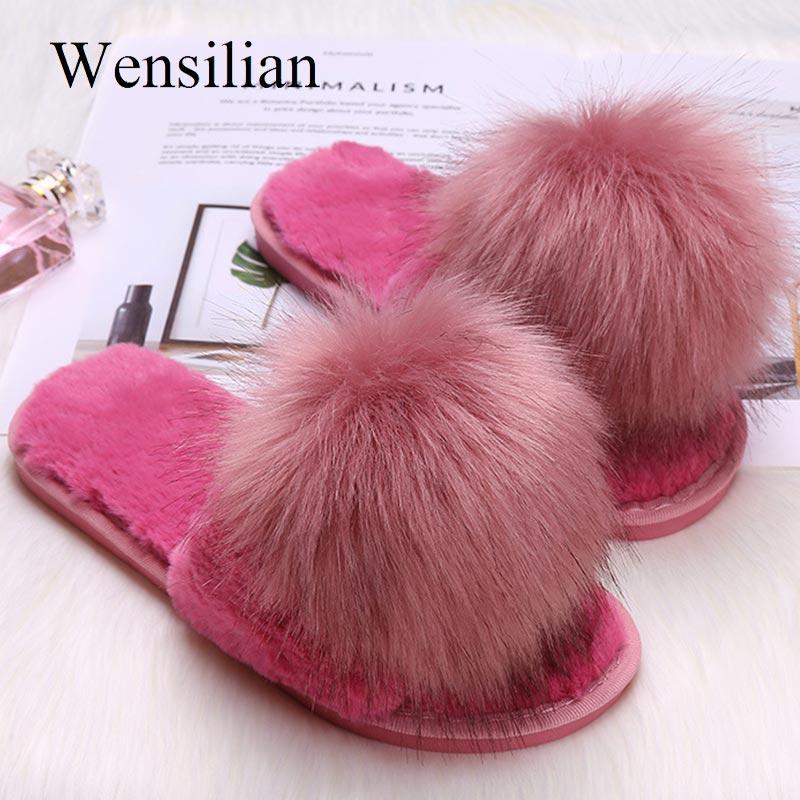 Deslizamentos de pele Mulheres Chinelos de Inverno Chinelos Furry Macio Sapatos de Casa Sapatos Baixos Sapatos Deslizadores de Pele Morna Sapato Pantoufle Femme 2019