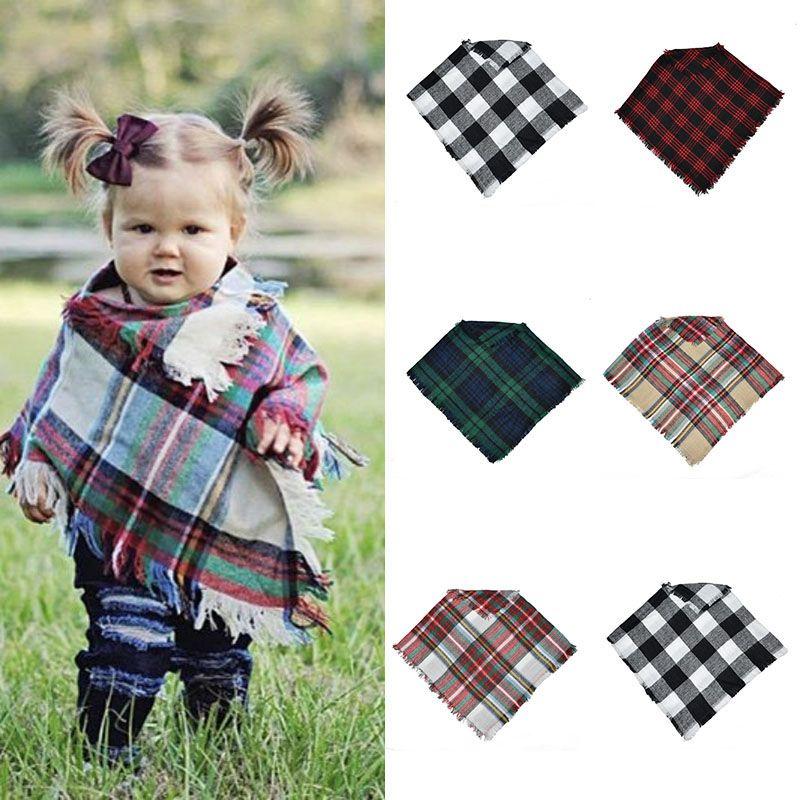 Baby Girls Winter Plaid cloak Kids lattice shawl scarf poncho cashmere Cloaks Outwear Children Coats Jackets Clothing 5 colors C50