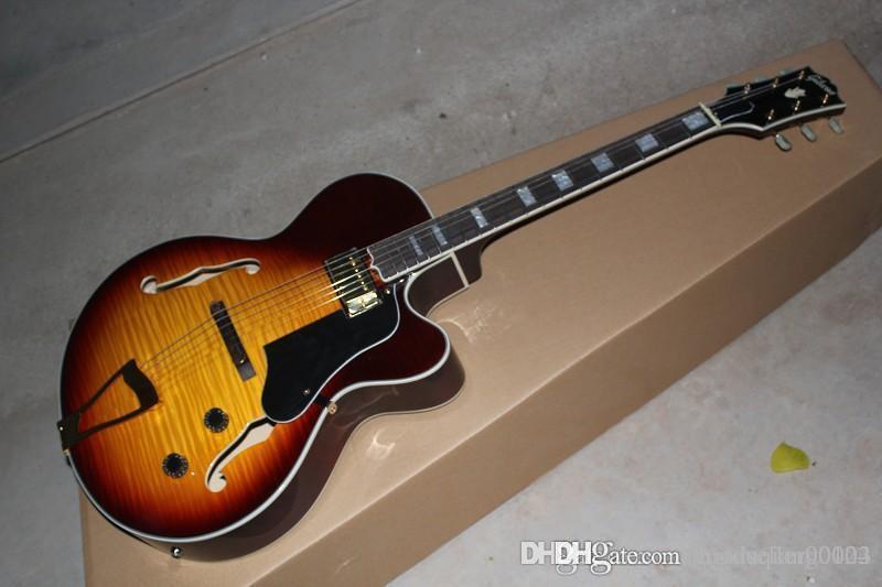 Wholesale TOP Tiger maple Sunburst Hollow jazz L-5 L5 Jazz electric guitar