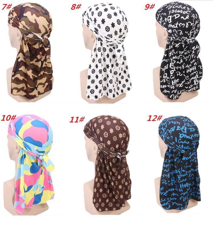 Fashion Camouflage Print Durag da uomo King's Durag Bandane da turbante Cuciture da esterno Uomini Durag Headwear Fascia Pirate Hat Accessori per capelli