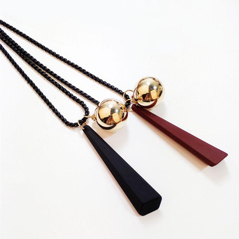 sfera di metallo Le donne del vento di alta qualità di nuovo arrivo della torretta modello donne collana femminile catena popcorn collana pendente di legno