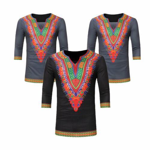 새로운 유행 뜨거운 판매 남성 캐주얼 V 넥 민족 인쇄 칠부 소매 기본 티는 남자 슬림 맞추기 T 셔츠 S-XXXL를 탑
