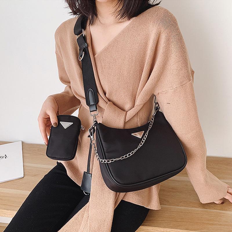 Мода женщин сумки плеча ретро нейлоновые сумки Модные Багет Crossbody сумка для женщин Ladies цепи Топ-ручка сумки Bolsas