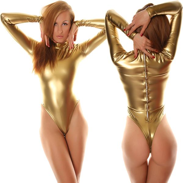Freies Verschiffen Sexy Fancy Dress Erwachsene Gold Langarm Shiny Metallic Unitard Zentai Anzug Für Halloween Party Trikot Body
