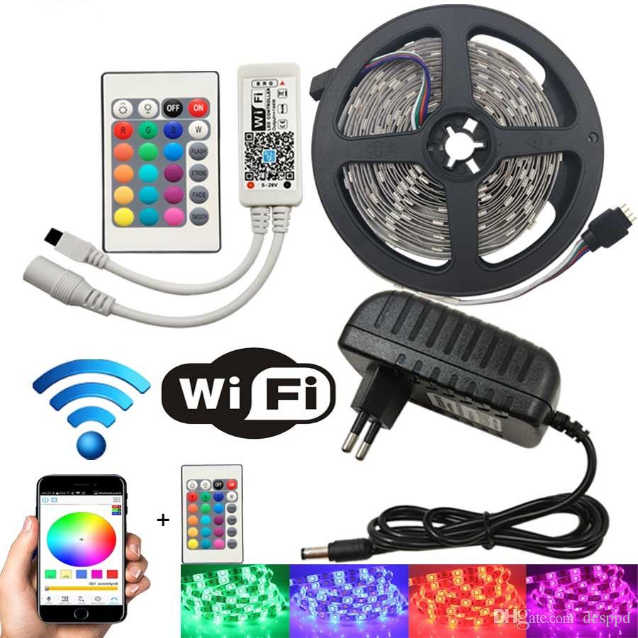 10M WiFi LED Strip Light RGB Tape Diode Neon Ribbon Tira Tita 12V SMD5050 5M Flexible Light String With WiFI Controller adapter