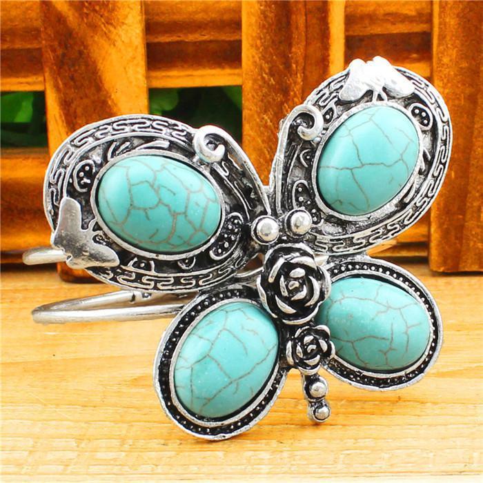 Al por mayor-Tíbet de la apariencia vintage de la aleación plateada plata oval mariposa de la turquesa brazalete pulsera brazalete B505