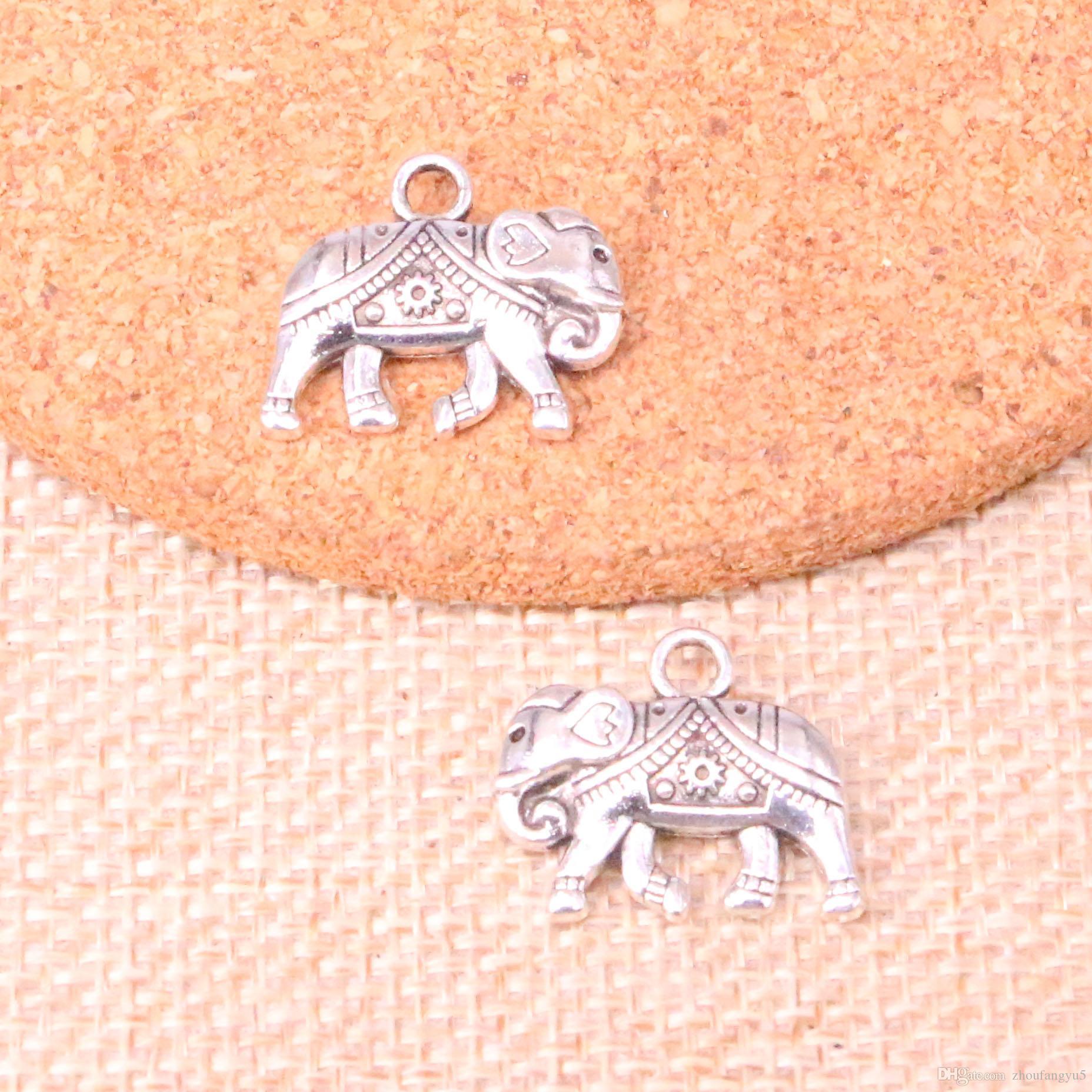 39pcs encantos Tailandia monta elefante 16 * 20mm pendiente apto Making antiguo, plata tibetana de la vendimia, joyería DIY hecho a mano