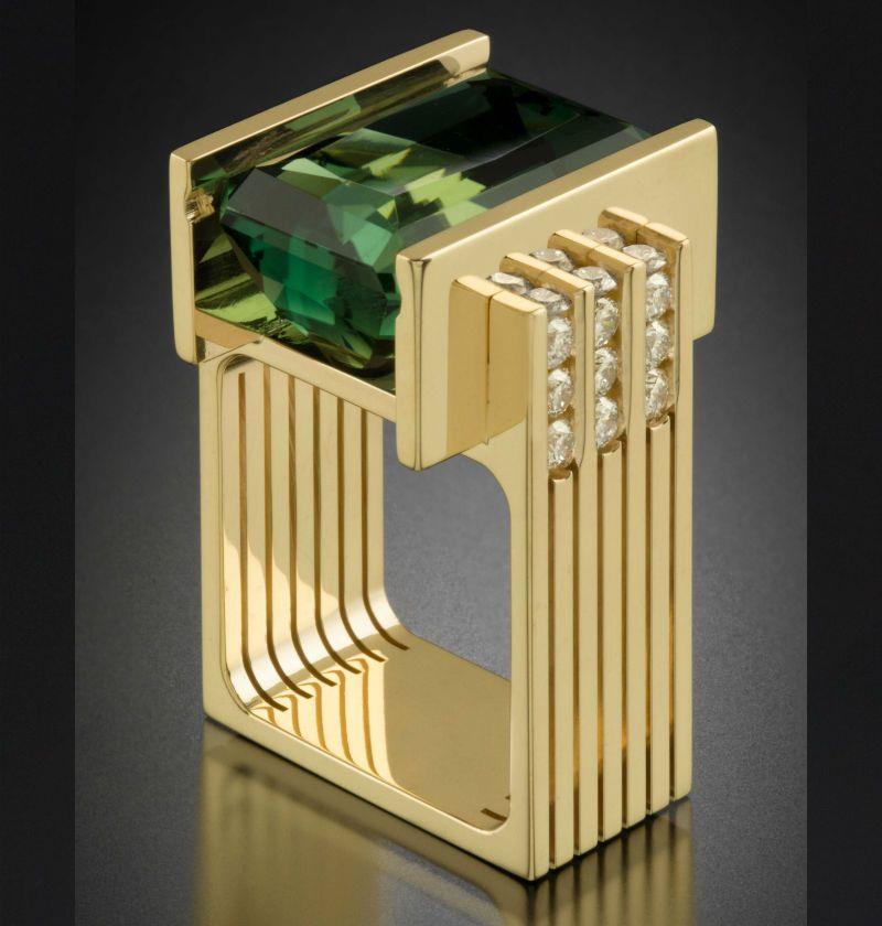 Anello gioielli 14K oro giallo smeraldo per le donne rectangel verde smeraldo Topazio Anelli Biżuteria pietra preziosa 14K Fahsion Anello