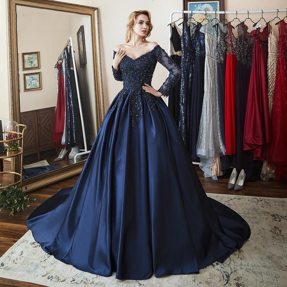 Angel robes de bal mariée 2020 robes de soirée mère dentelle robes de bal appliques bleu marine robe de mariée robe de festa