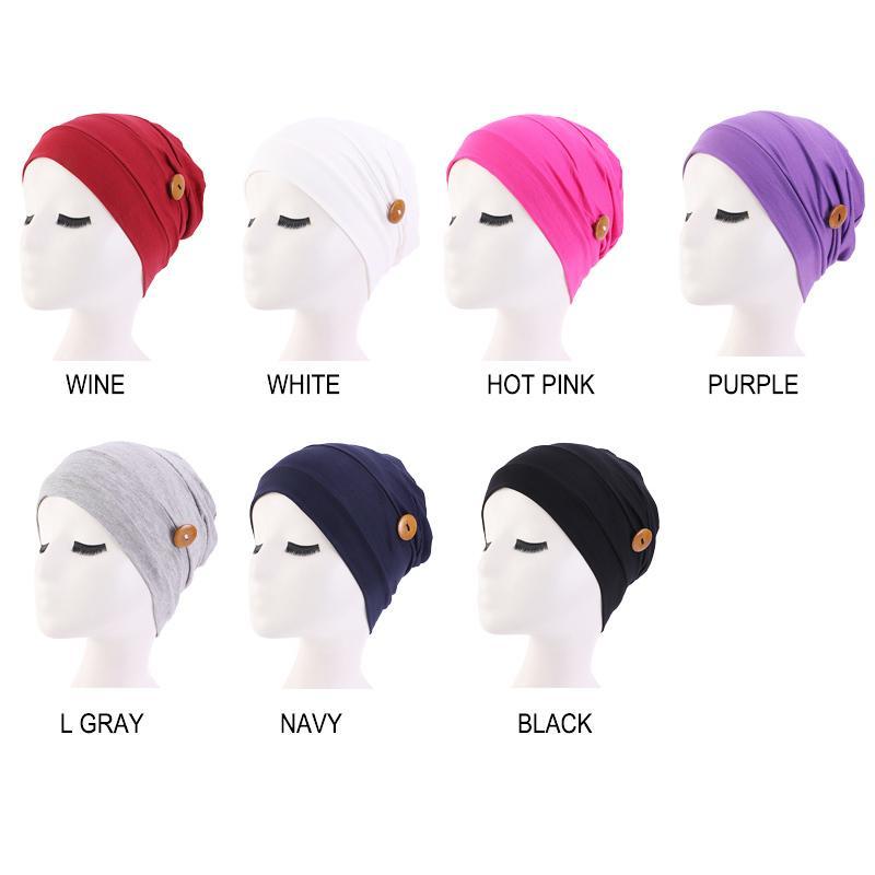 Hair Caps Soft Cotton Hat Button Wearing Mask Ear Protection Hat Turban Women Sleep Cap Ladies Headwear Hair Jewelry Accessories