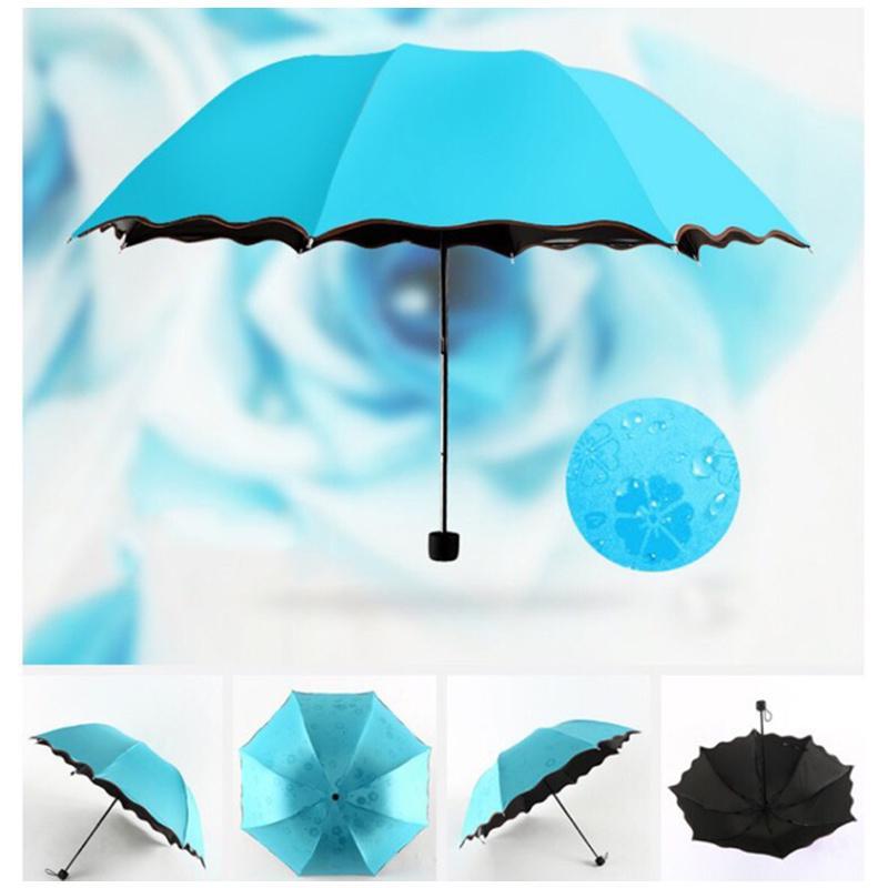 Ombrello pioggia a prova di raggi ultravioletti parasole pieghevole Ombrelli antivento protezione solare Flower Magic Dome Sun ingranaggio della pioggia per le donne