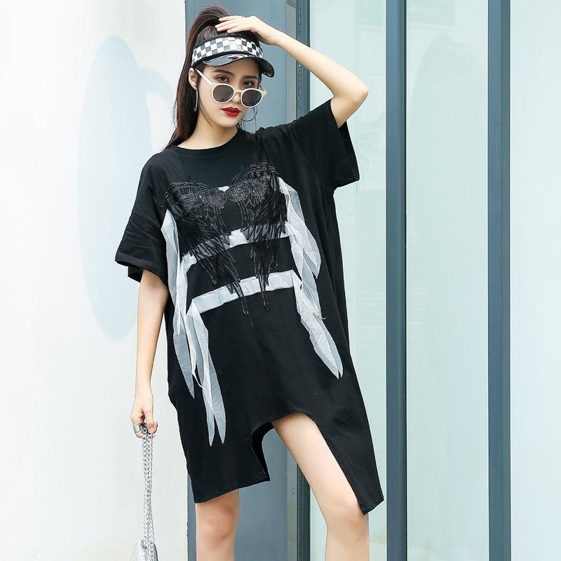 Asas bordados T-shirt senhora vestido de grandes dimensões hip hop streetwear irregulares fina vestido de verão mulheres 2020 novas Vestidos longos soltos