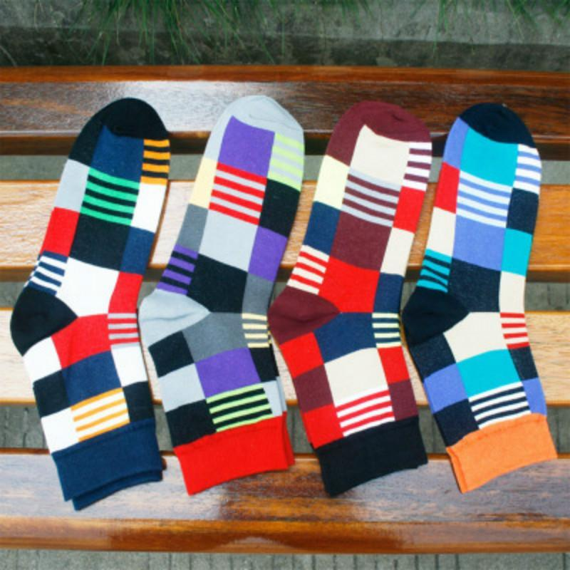 Men's Socks Warm Autumn-winter Cotton Classic Business Men and Male Sock Colorful Lattice Socks 4 Color Free Size Great