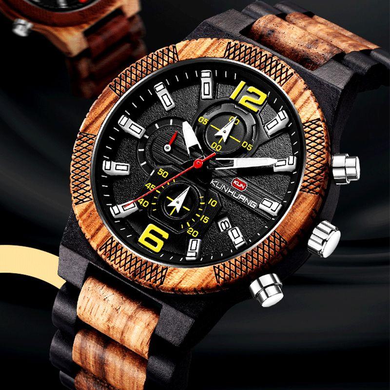 Big Wood With Sport Chronographe Hommes Regardez Multifunction Military Military Montres Men Relogio Masculino Box FQTWM