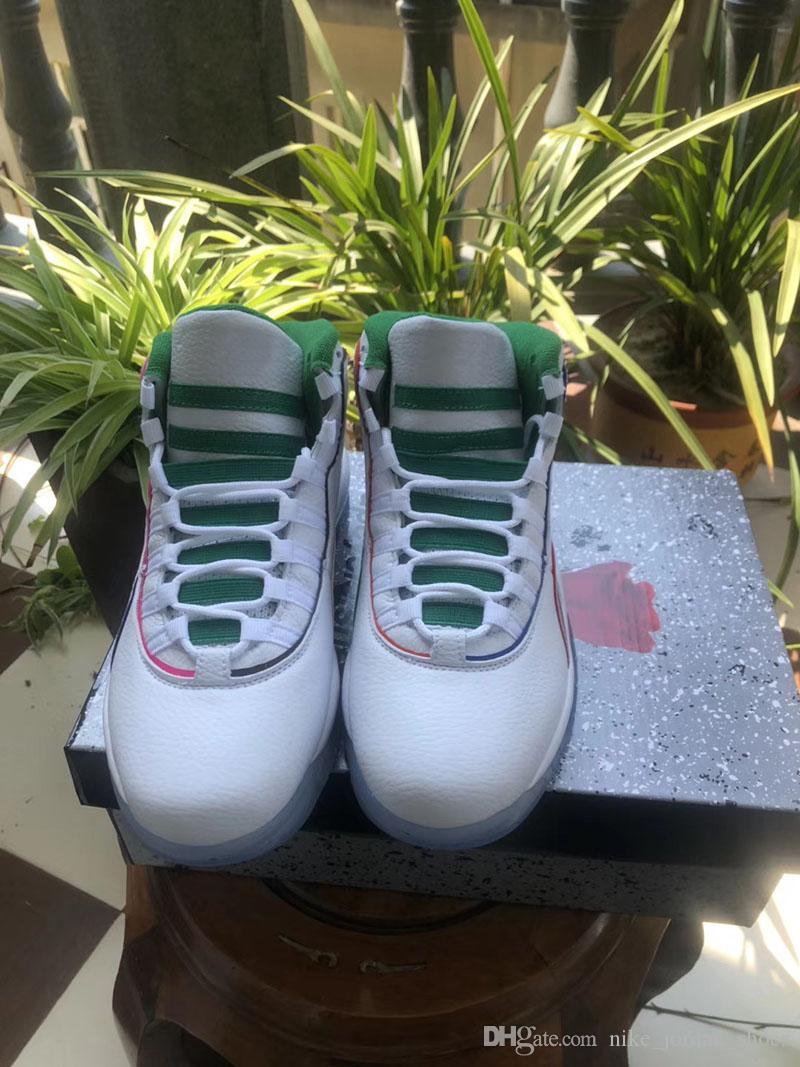 새로운 릴리스 J10 날개를 남자 농구화 운동화 White Clover-크롬-검은 녹색 짜개진 조각 망 체육 스포츠 트레이너 deisgner 신발