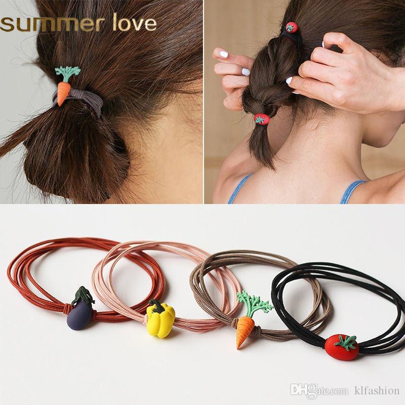 Corea linda niños elástico de las mujeres del pelo banda vegetabl lazos del pelo de la cuerda de Scrunchy niños Ponytail de diseños de moda accesorios para el cabello regalo
