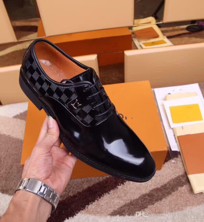 Resmi Elbise Ayakkabı Nazik markalar Erkekler Için Parlak cilt Hakiki İş elbise Deri Ayakkabı Sivri Burun Erkek tasarımcı Iş Oxfords Rahat