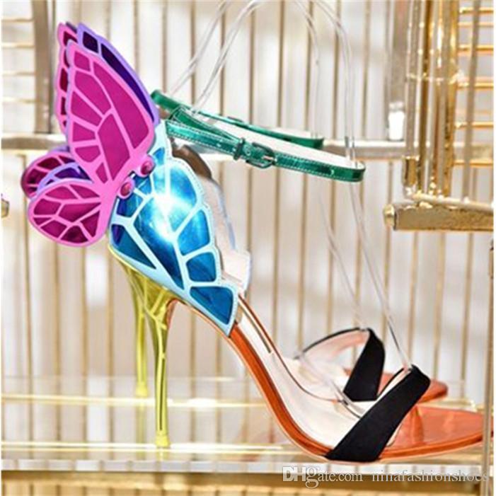 Sexy Bunte Frau Schuhe Butterfly Wings Sandalen dünne hohe Absätze Sandalial Knöchel-Bügel-Pumpen-Partei-Freizeit-Schuhe Damen-Schuhe Mujer